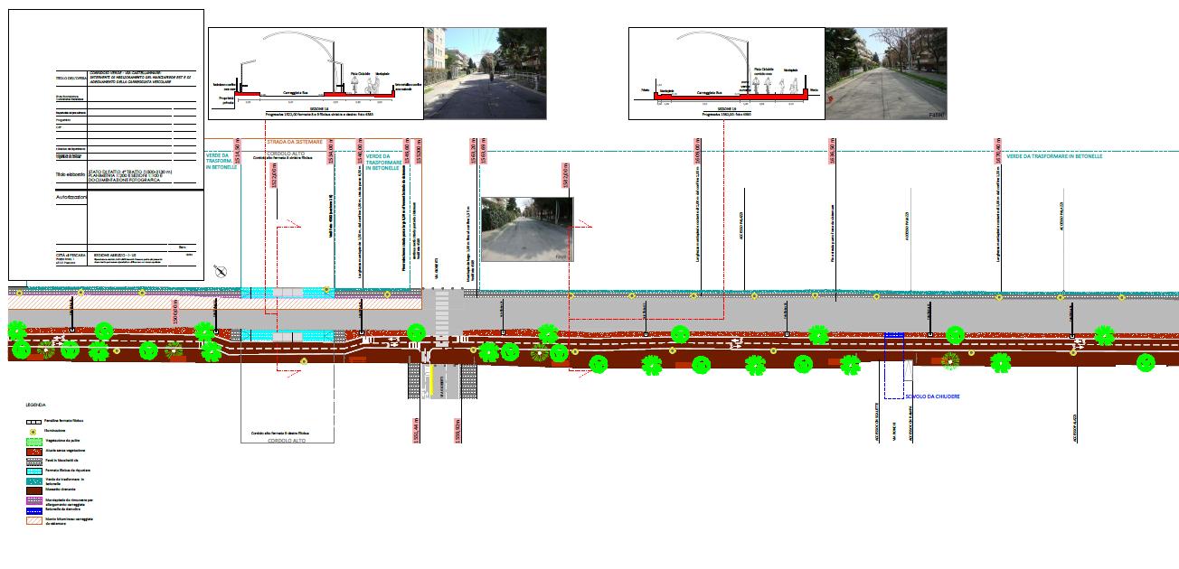 """Tavola dell'Azione 4 del SUS del progetto di riqualificazione del """"Corridoio verde"""" - Stato di fatto del tratto 4"""