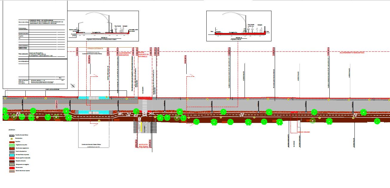 """Tavola dell'Azione 4 del SUS del progetto di riqualificazione del """"Corridoio verde"""" - Stato di progetto del tratto 4"""